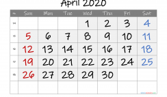 Printable April 2020 Calendar with Week Numbers