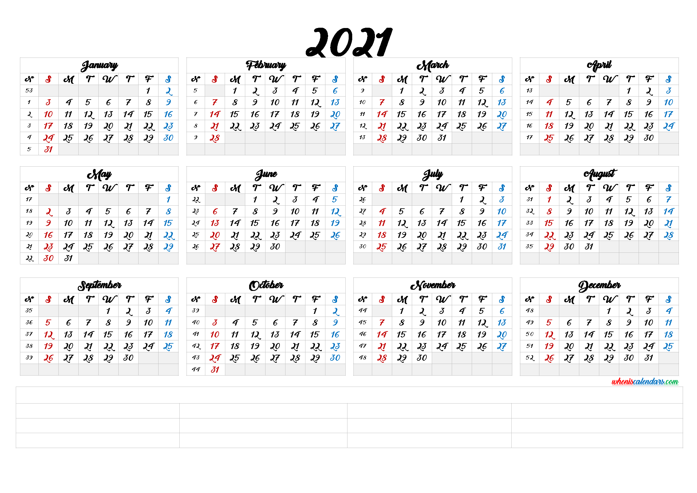 2021 Calendar With Week Number Printable Free : 2021 ...