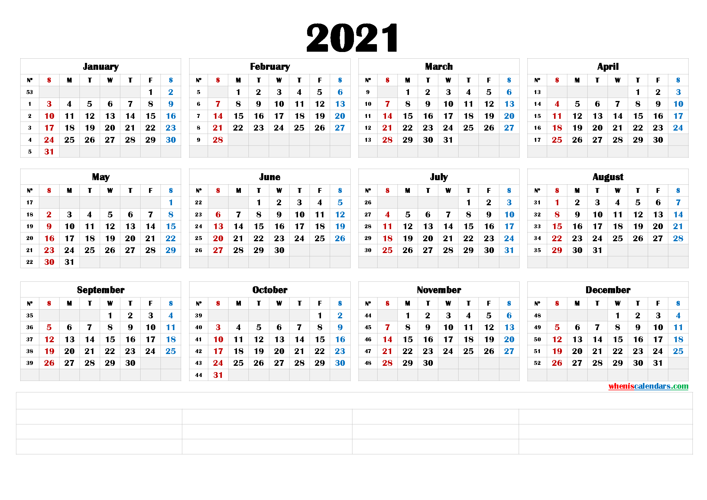 Free 2021 Yearly Calender Template - Free Printable ...