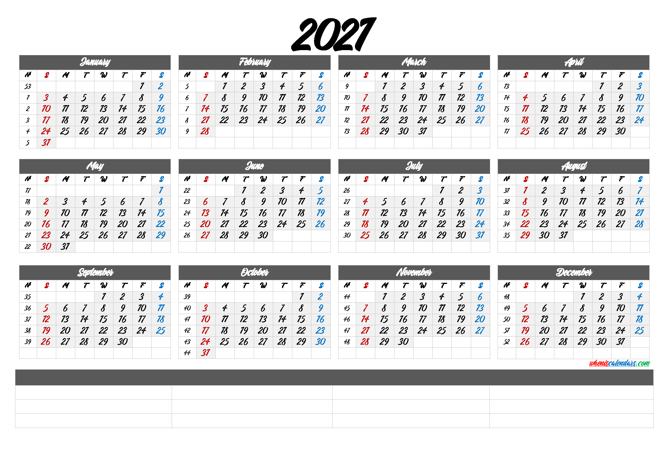 Printable 2021 Calendar by Month