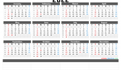 Free Printable 2022 Yearly Calendar with Week Numbers