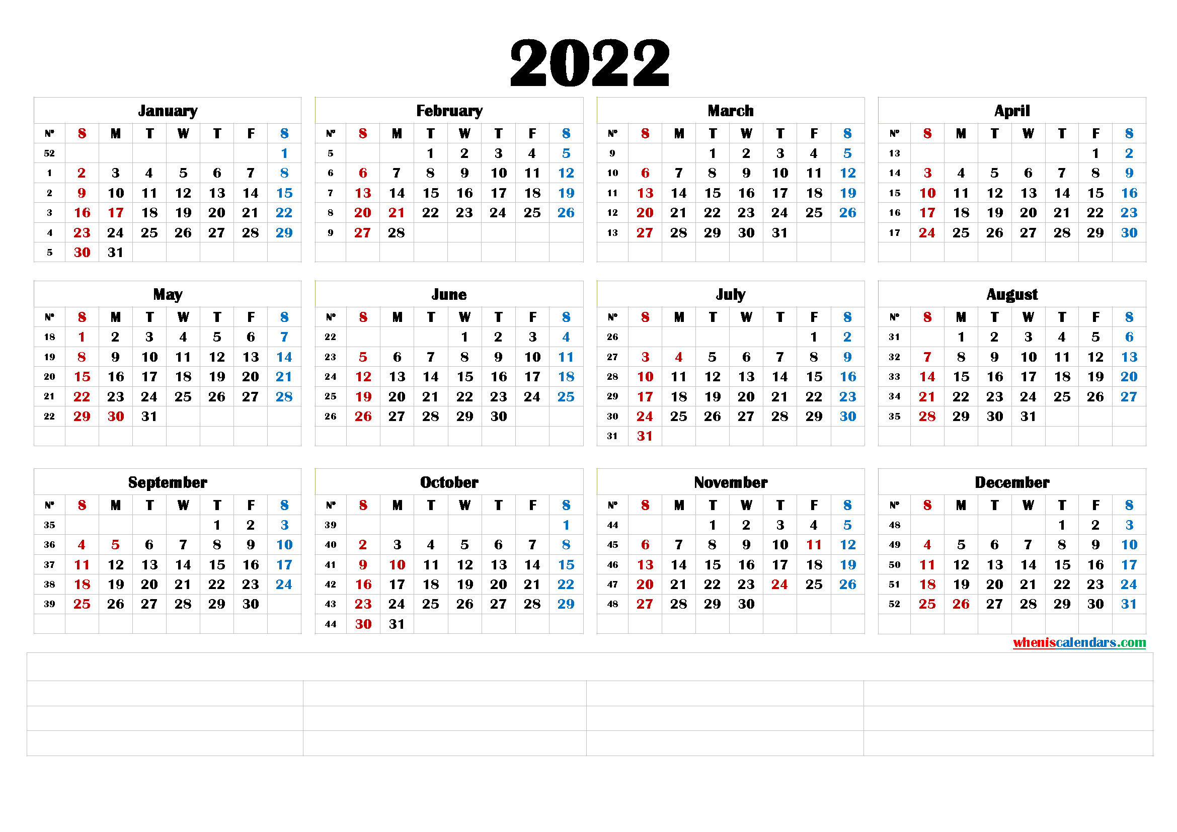 2022 Printable Yearly Calendar with Week Numbers ...