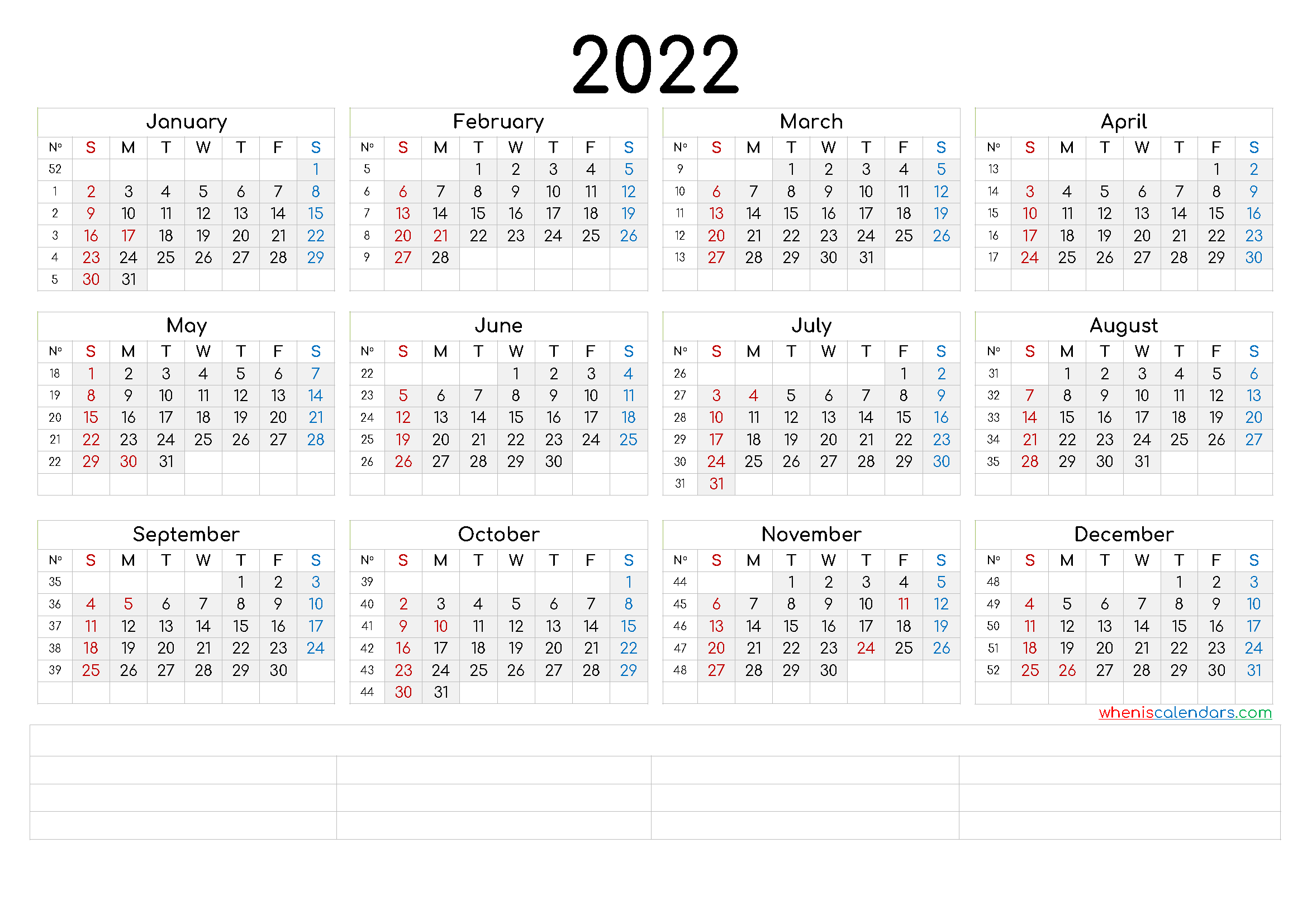 Printable 2022 Calendar by Month
