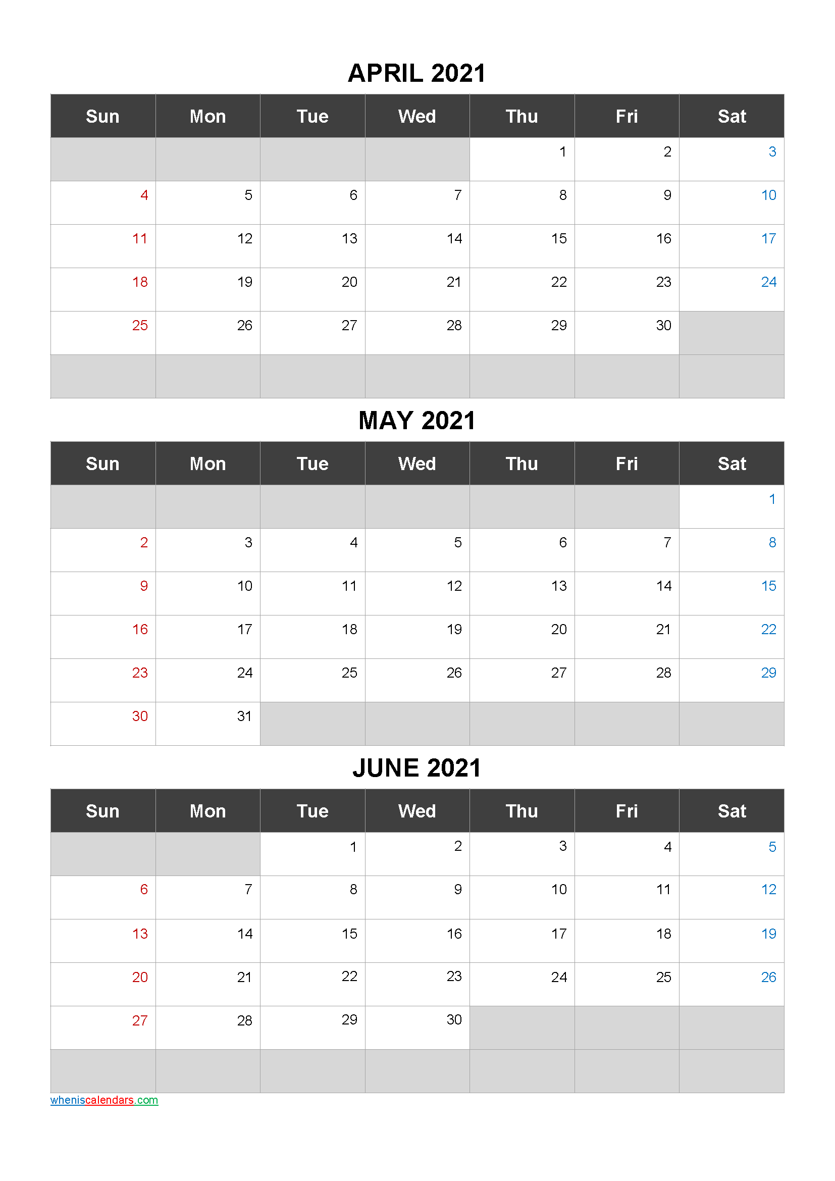 Printable Calendar April May June 2021