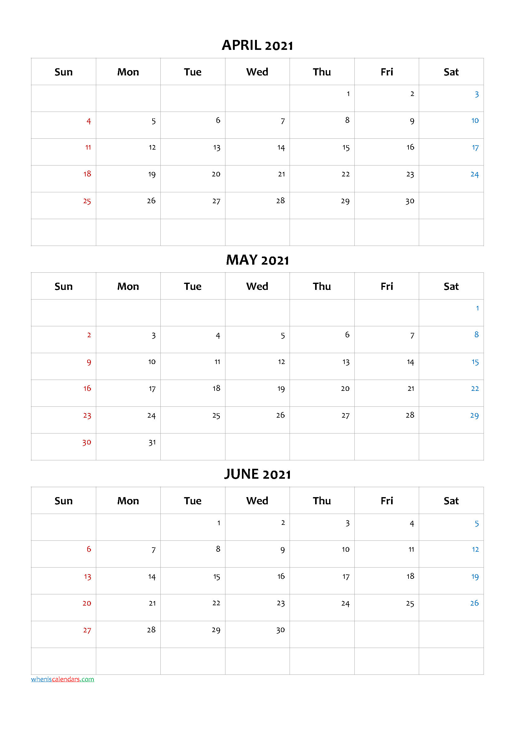 April May June 2021 Calendar Printable Free