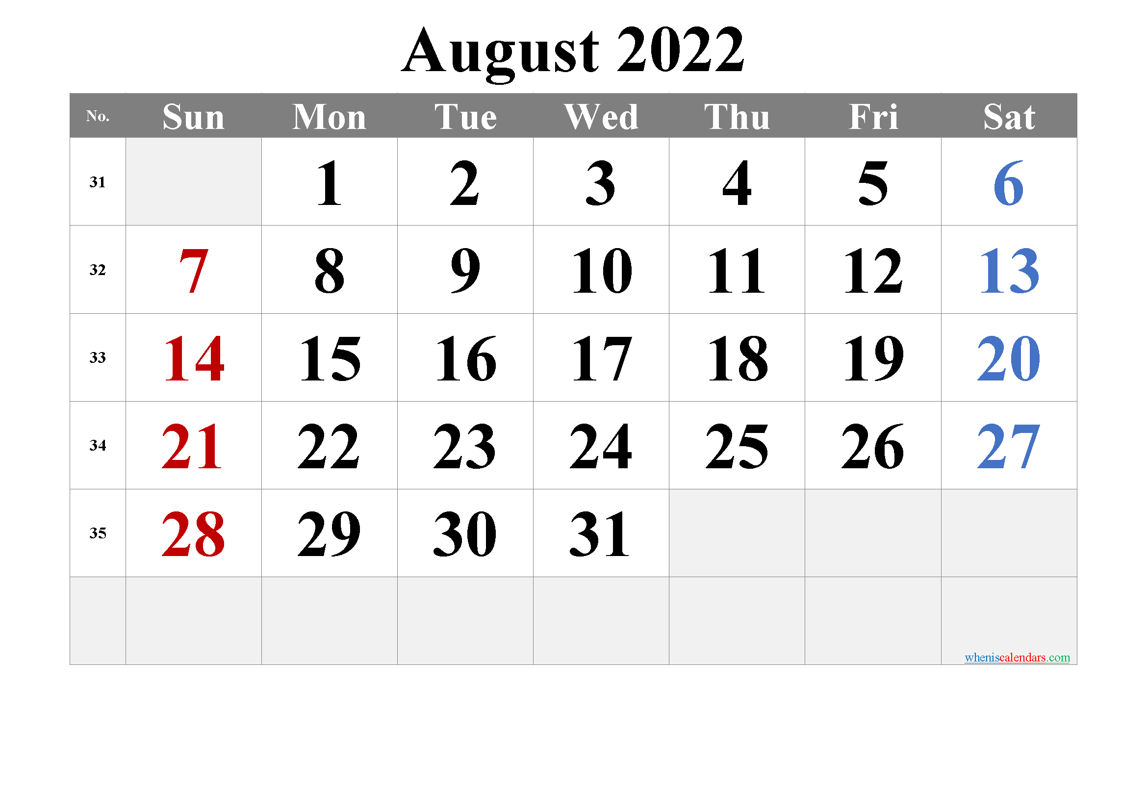 Free Printable August 2022 Calendar with Holidays