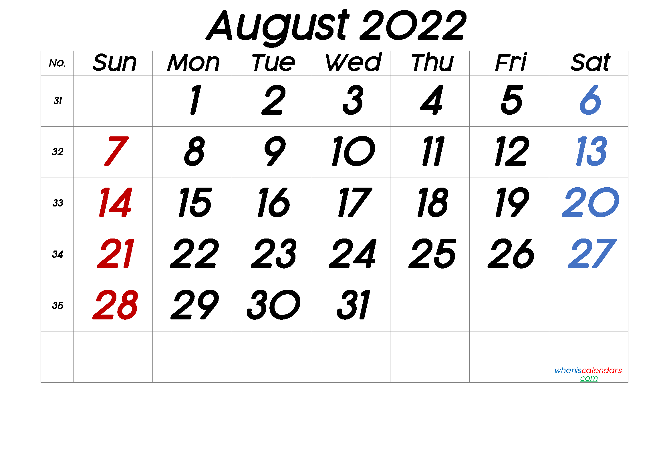Printable August 2022 Calendar with Week Numbers