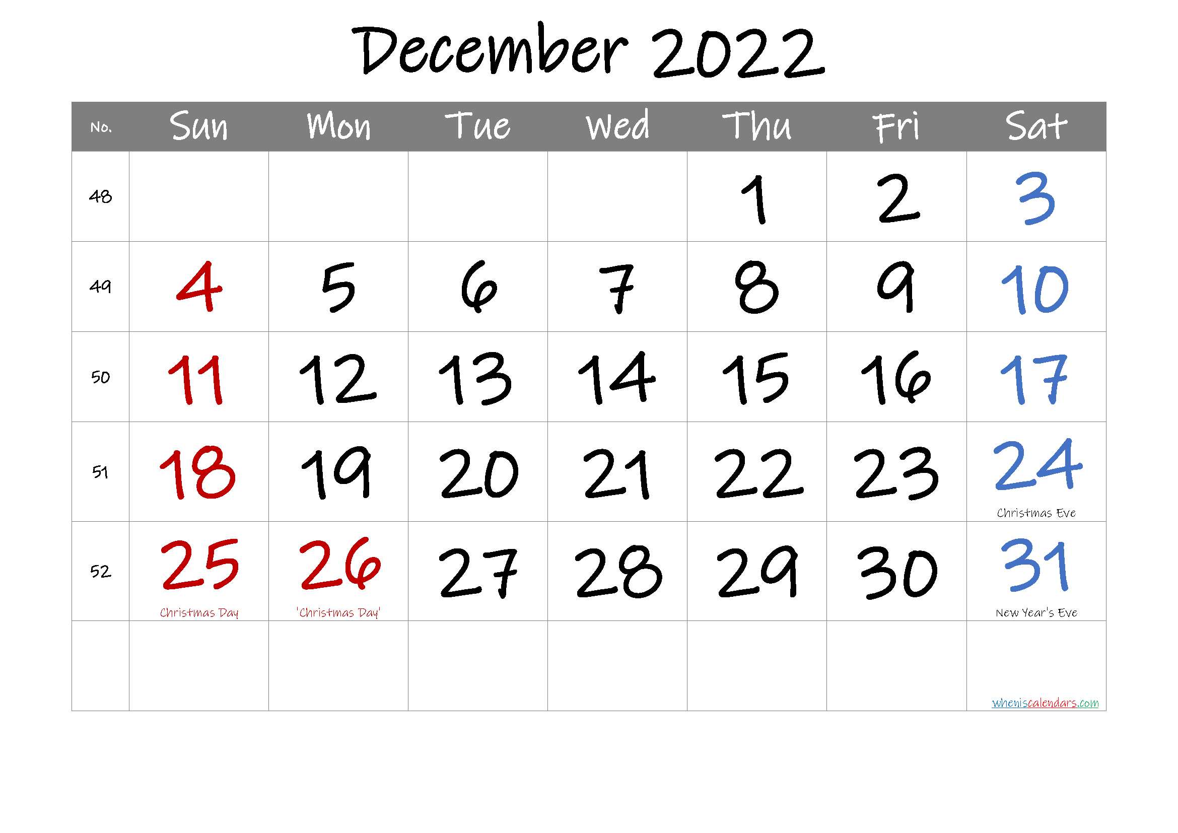 Free Printable December 2022 Calendar with Holidays