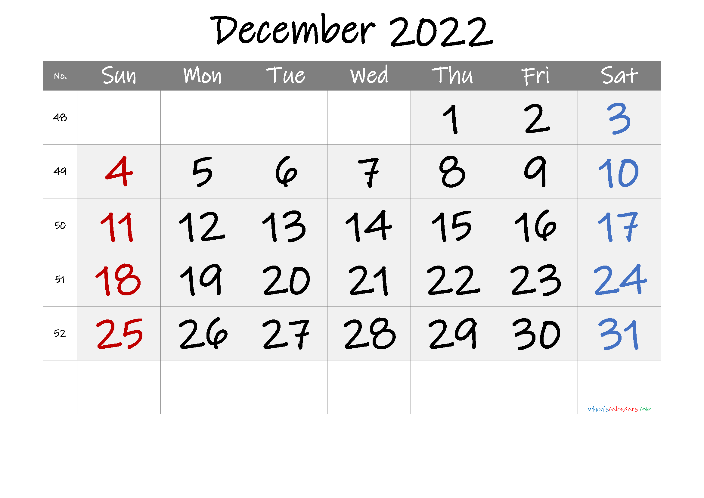Printable December 2022 Calendar with Week Numbers