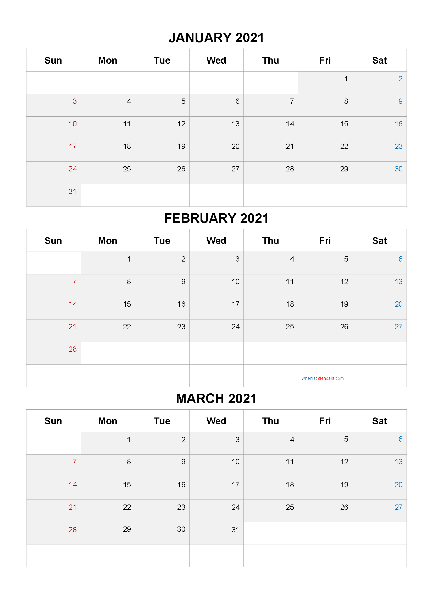 Free January February March 2021 Calendar