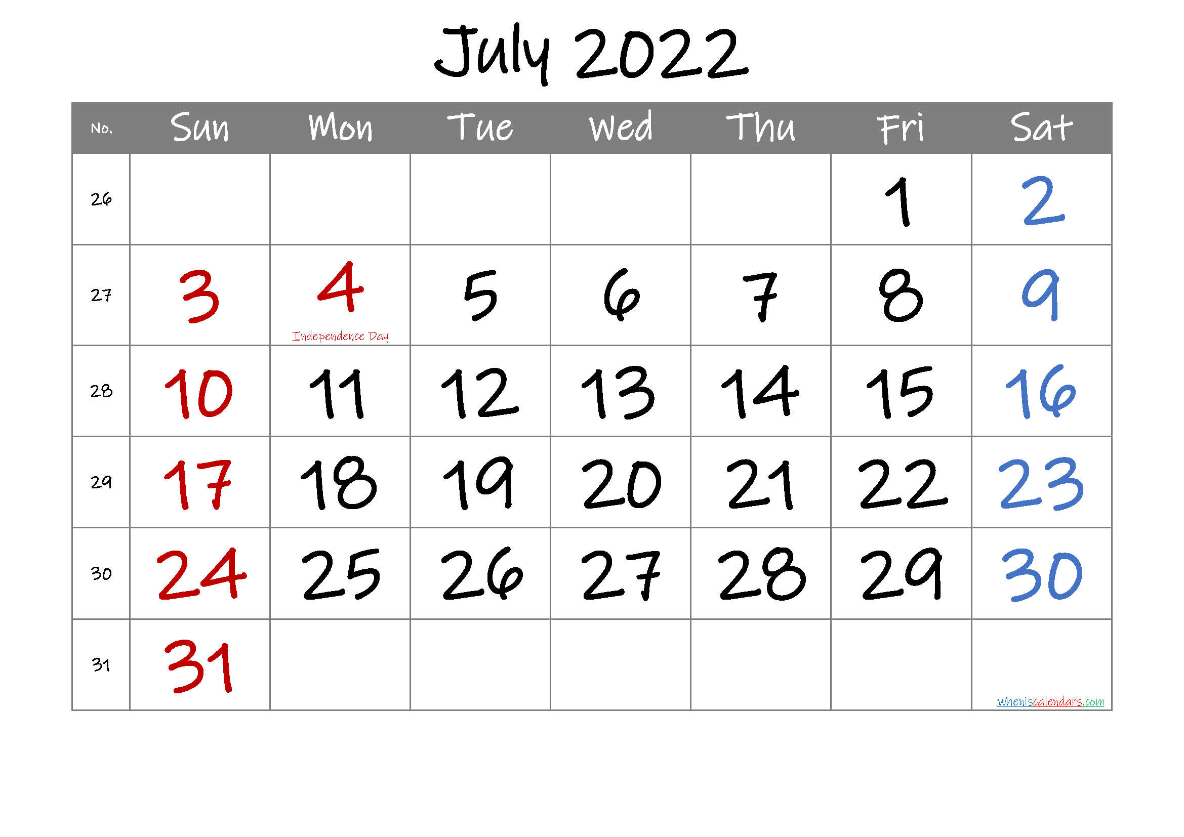 Free Printable July 2022 Calendar with Holidays