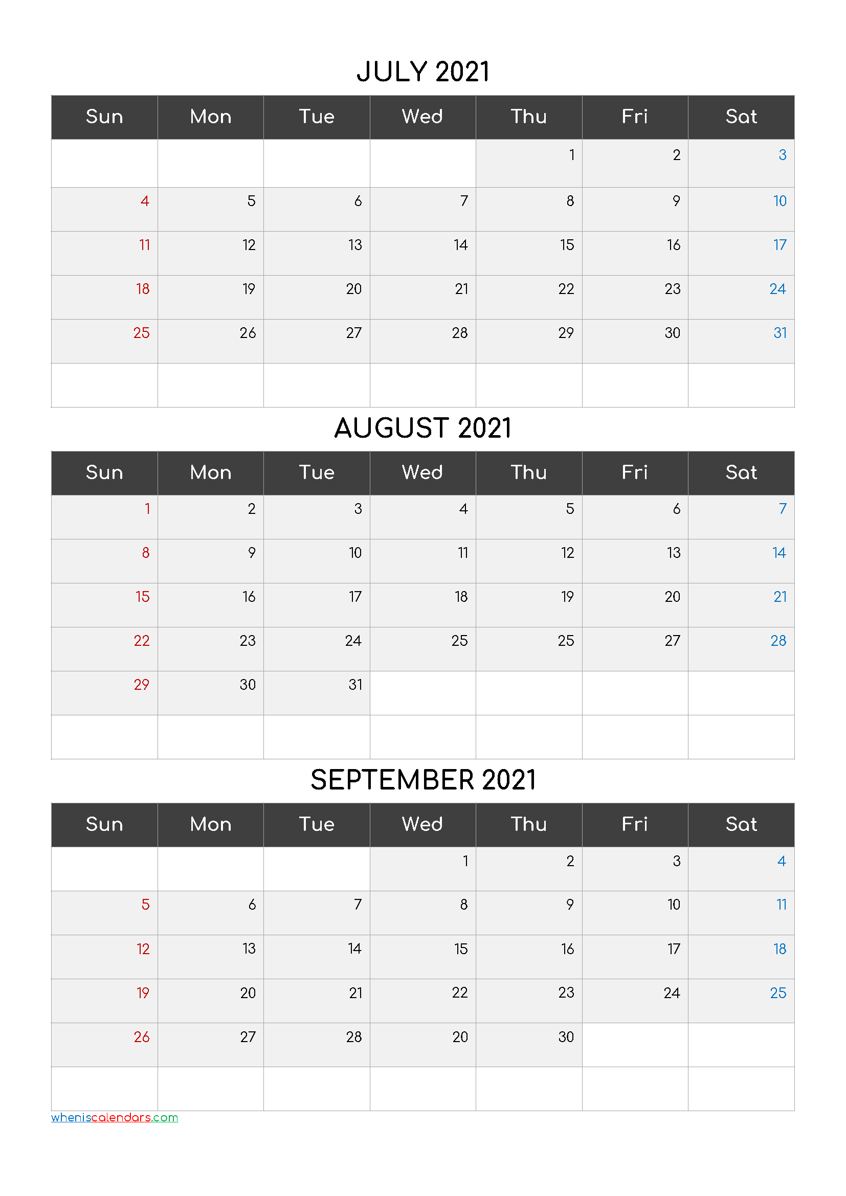 July August September 2021 Calendar Printable