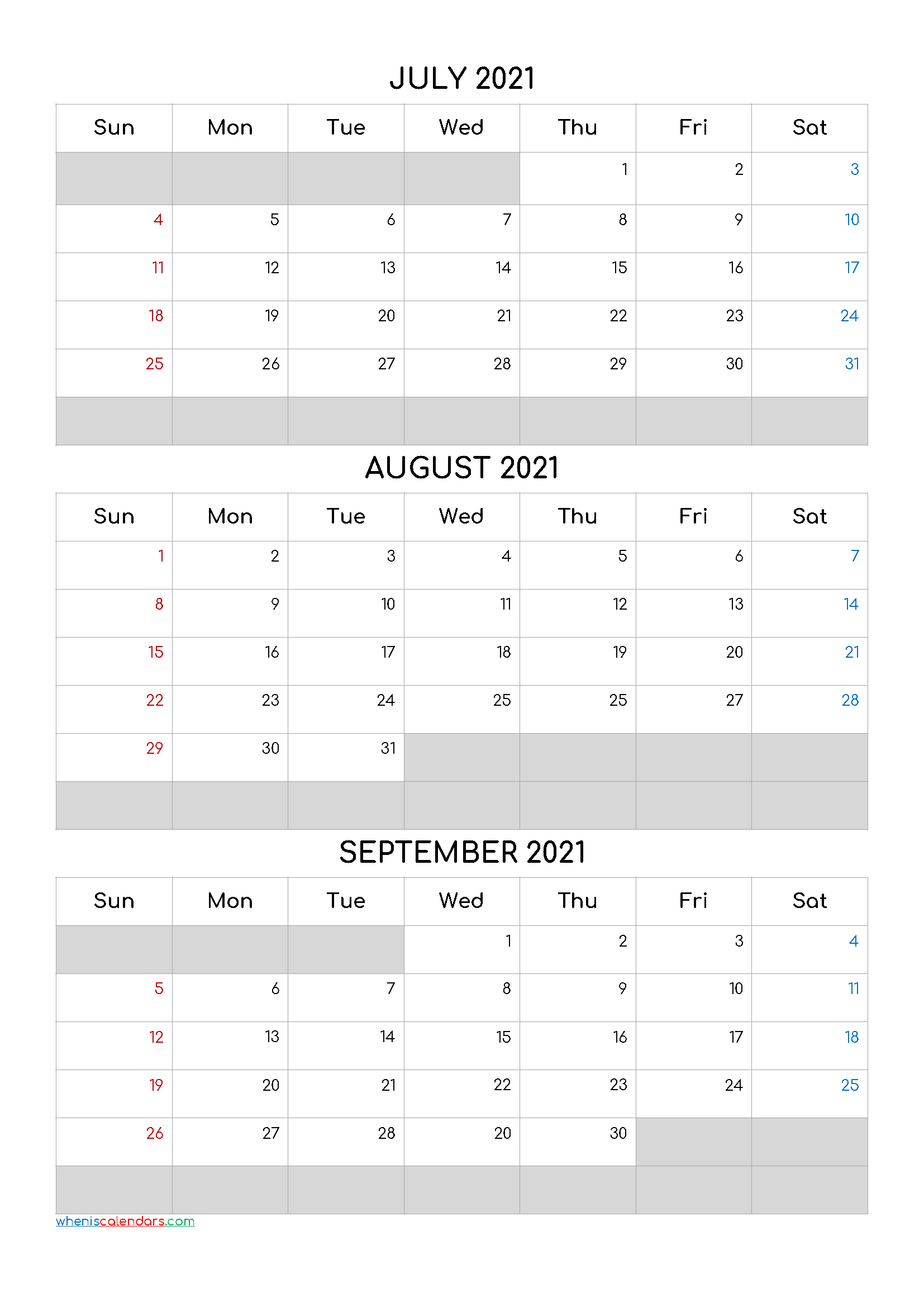 July August September 2021 Calendar Template