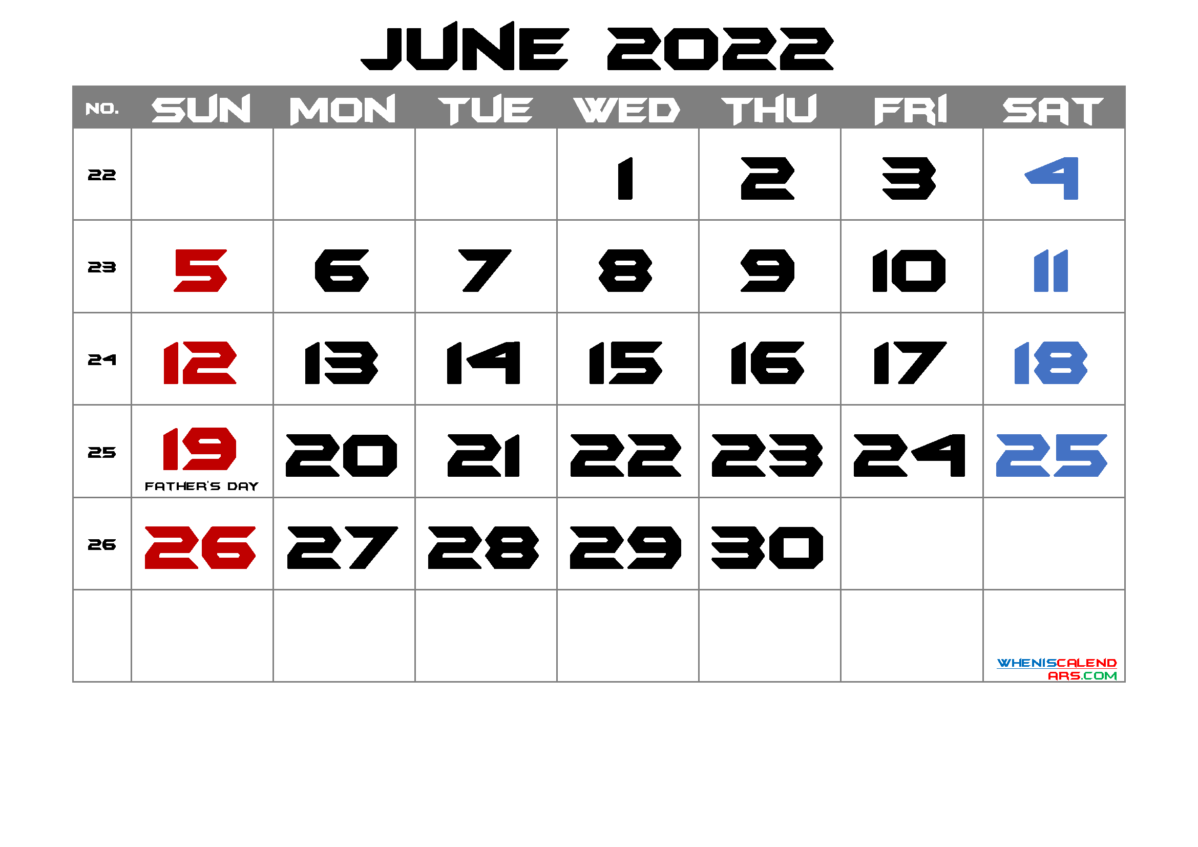 Free Printable June 2022 Calendar with Holidays
