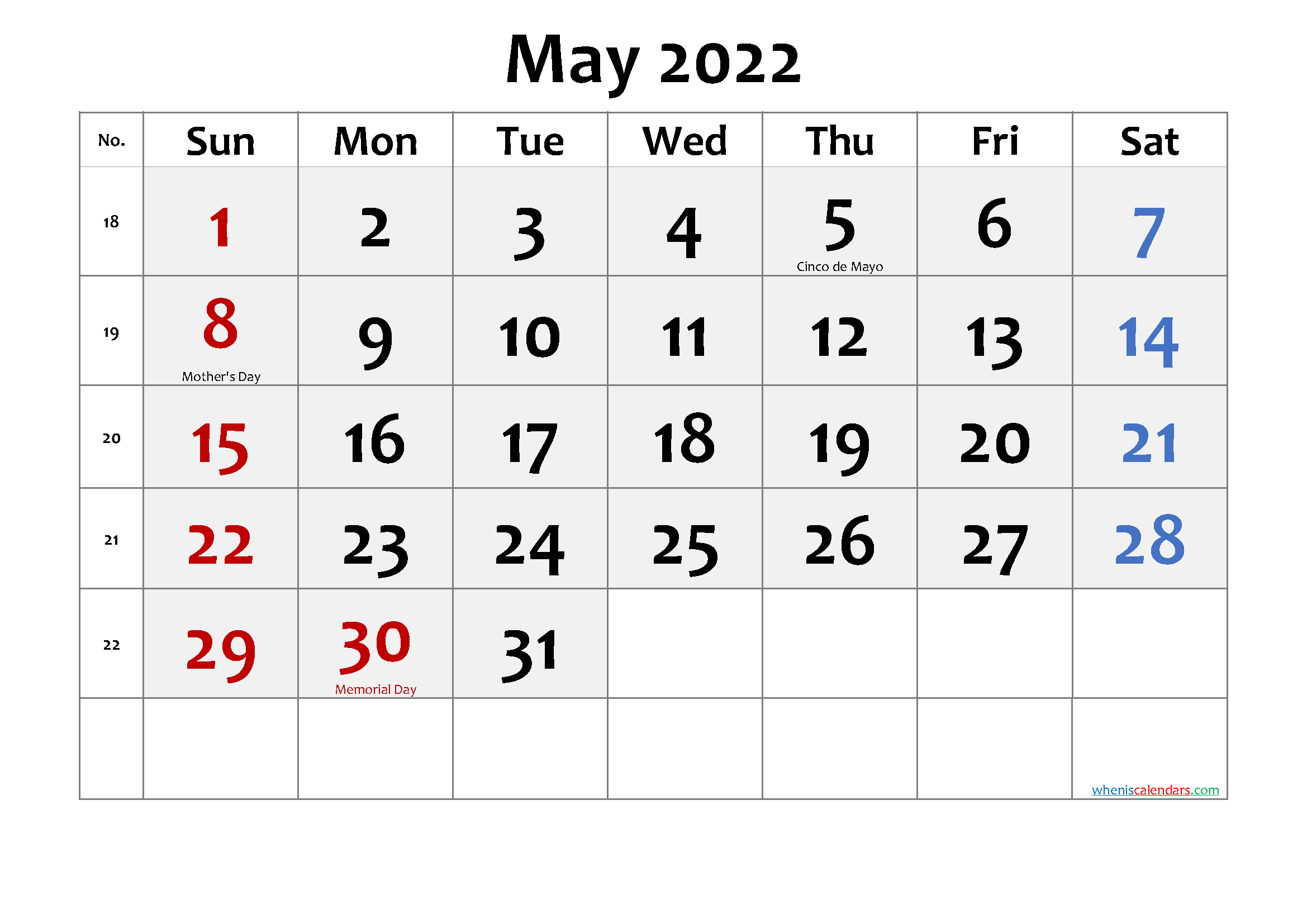 May 2022 Monthly Calendar.Free Printable 2022 Monthly Calendar With Week Numbers Page 63 Calendarex Com