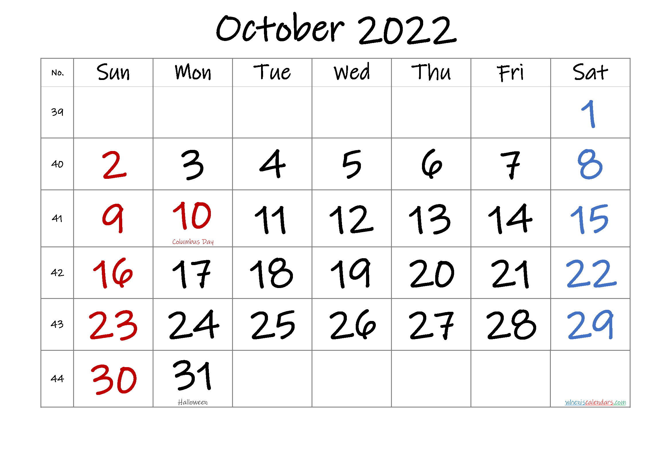October 2022 Printable Calendar with Holidays