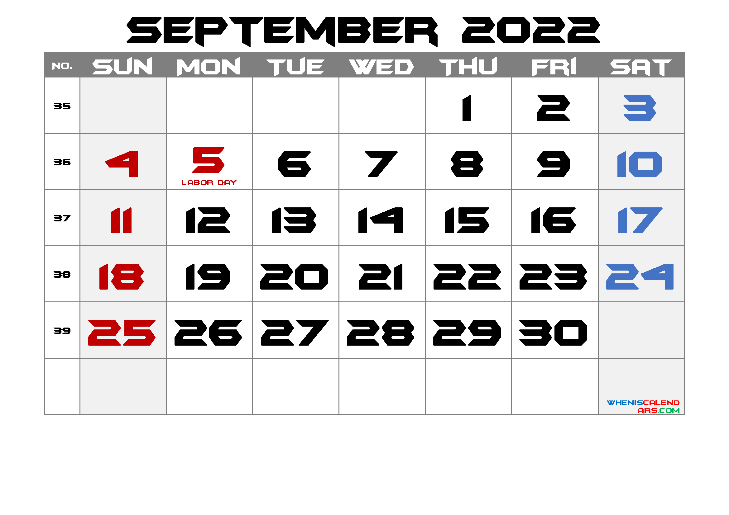 Printable September 2022 Calendar with Holidays
