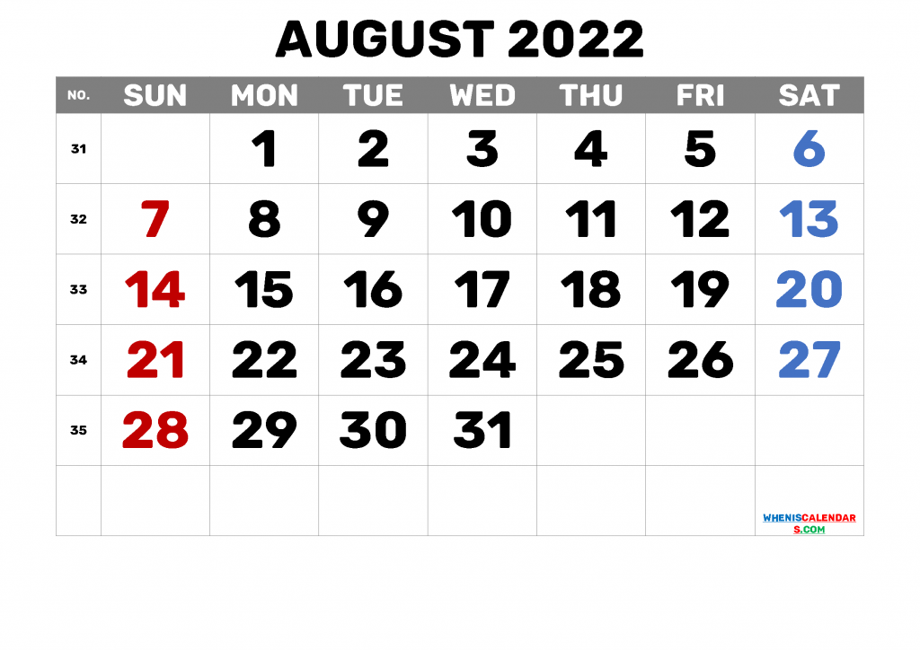 Calendar for August 2021 with Holidays