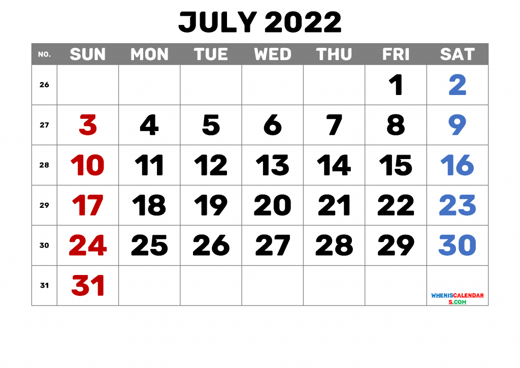 Calendar for July 2022 with Holidays