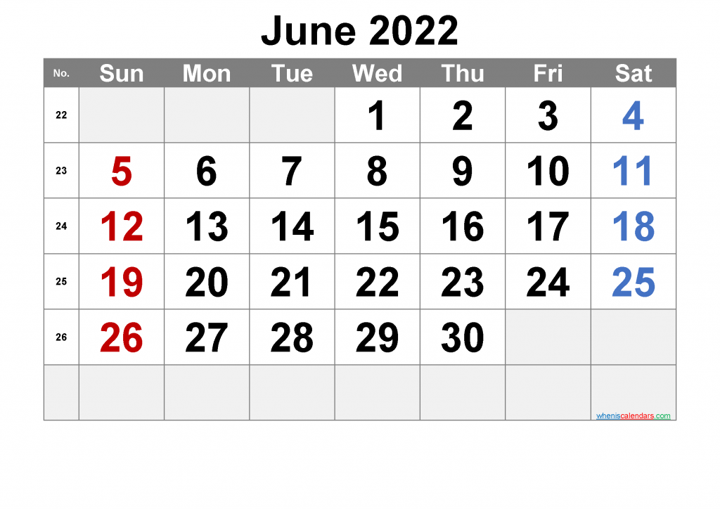 Calendar for June 2022 with Holidays