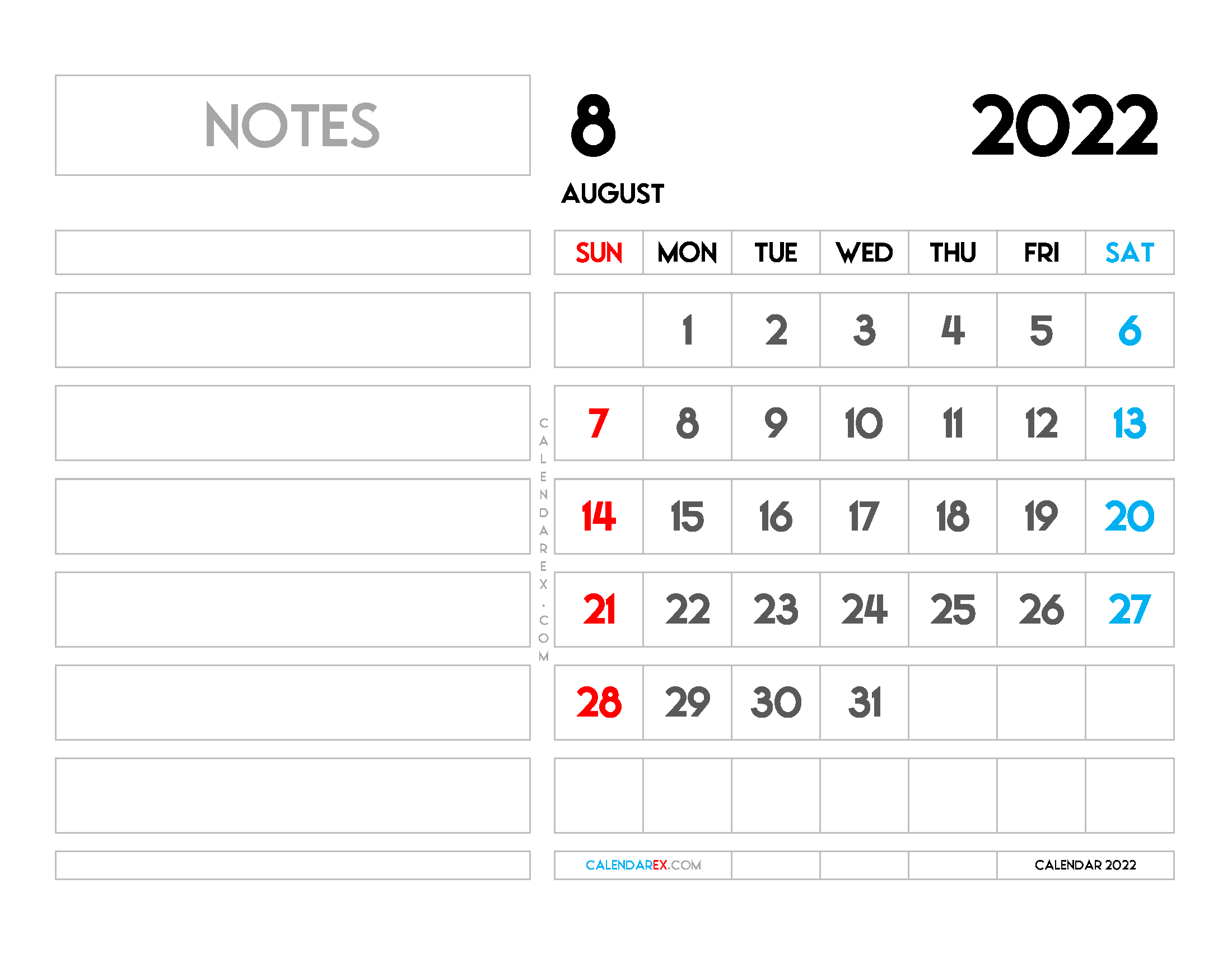 Free August 2022 Calendar with Holidays