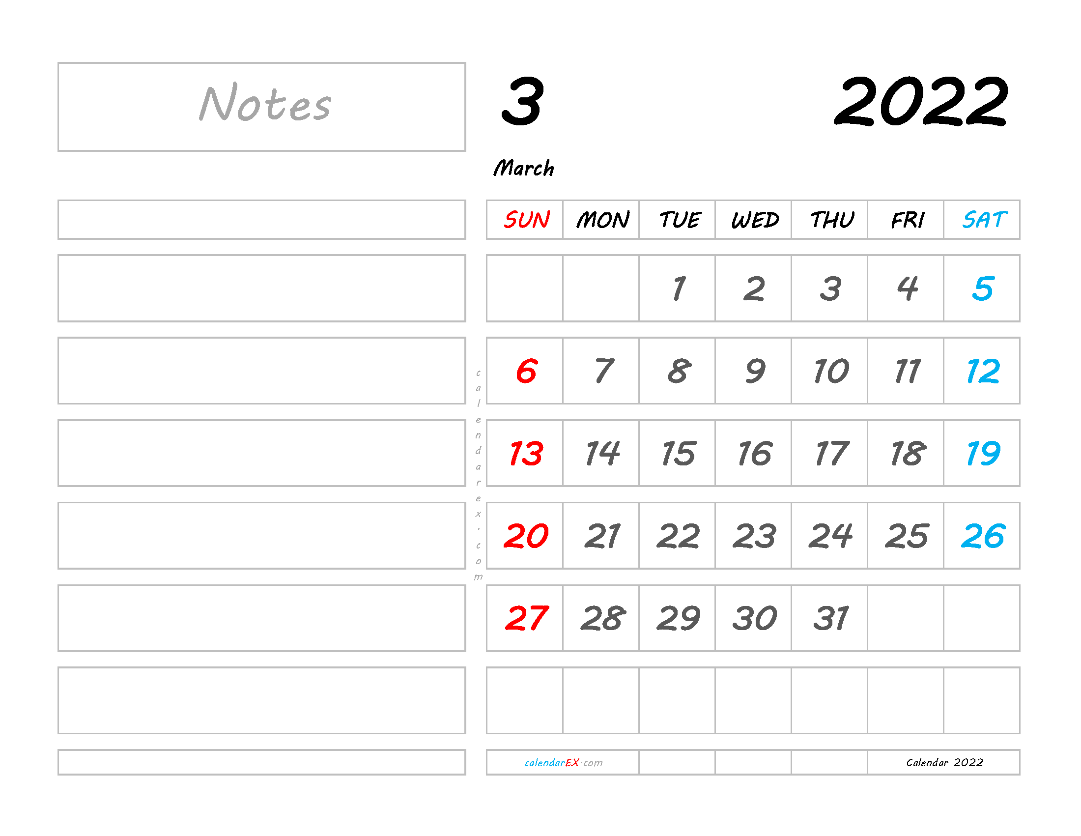 Free March 2022 Calendar with Holidays