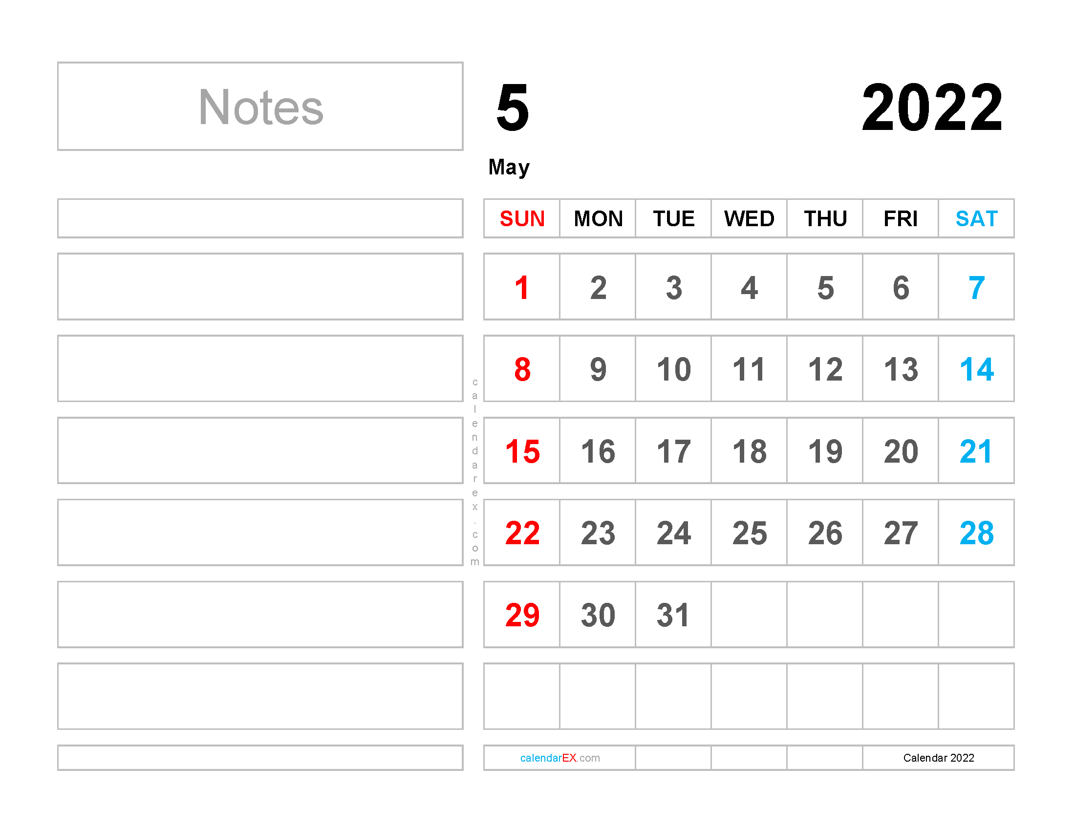 Free May 2022 Calendar with Holidays